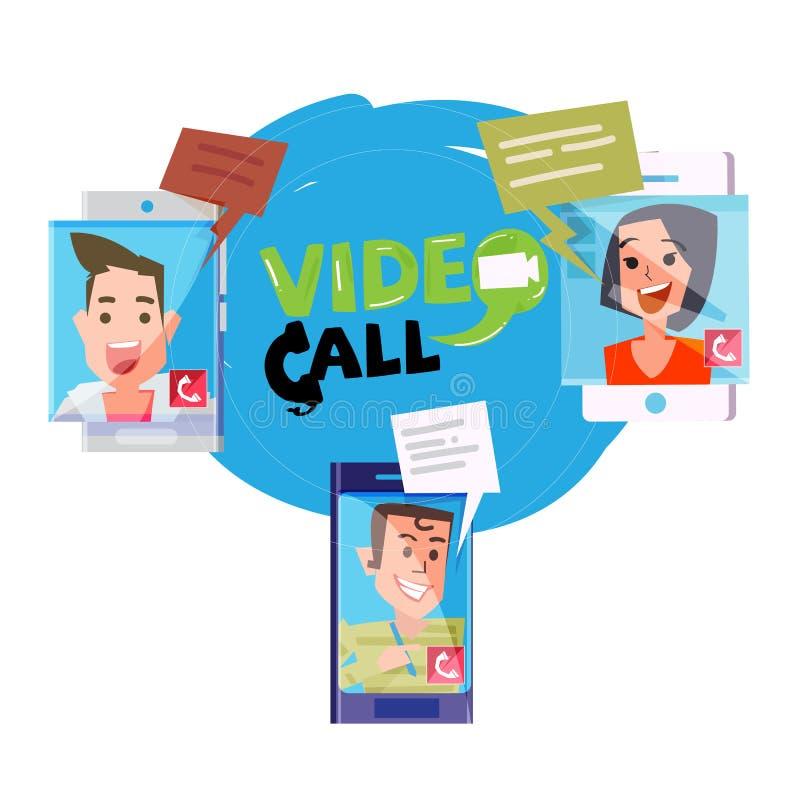 人民是电视电话会议在不同的地点, vid 向量例证