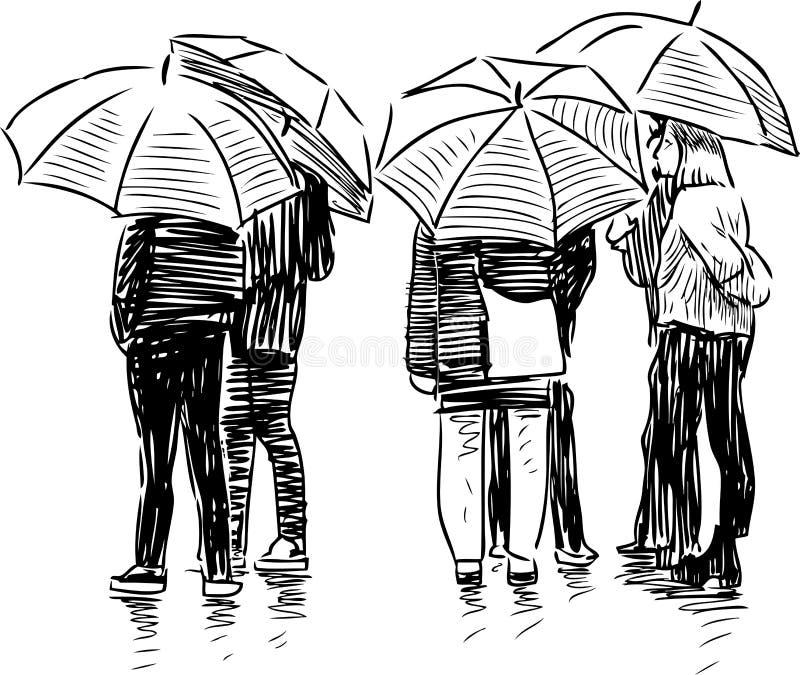 人民的剪影在伞下 向量例证