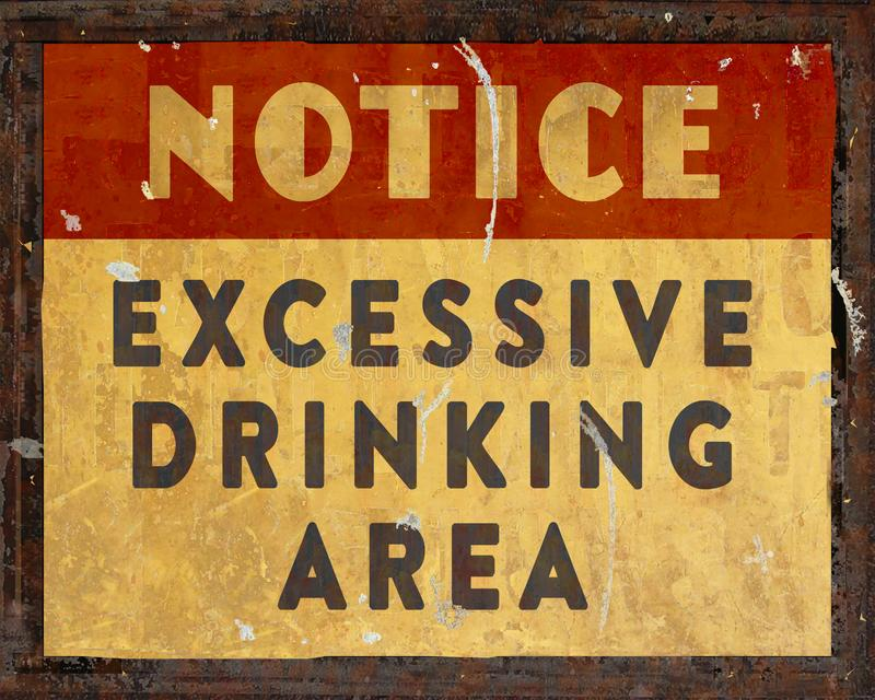 人洞饮用的通知标志减速火箭的葡萄酒 免版税库存图片