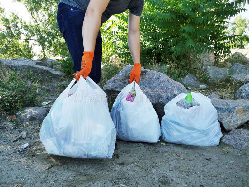人清除了公园和海滩从残骸 他拿着袋子垃圾和塑料 教的孩子的概念 库存照片