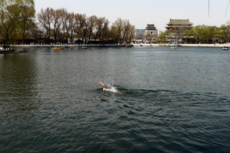 人游泳在北京houhai湖  免版税库存照片