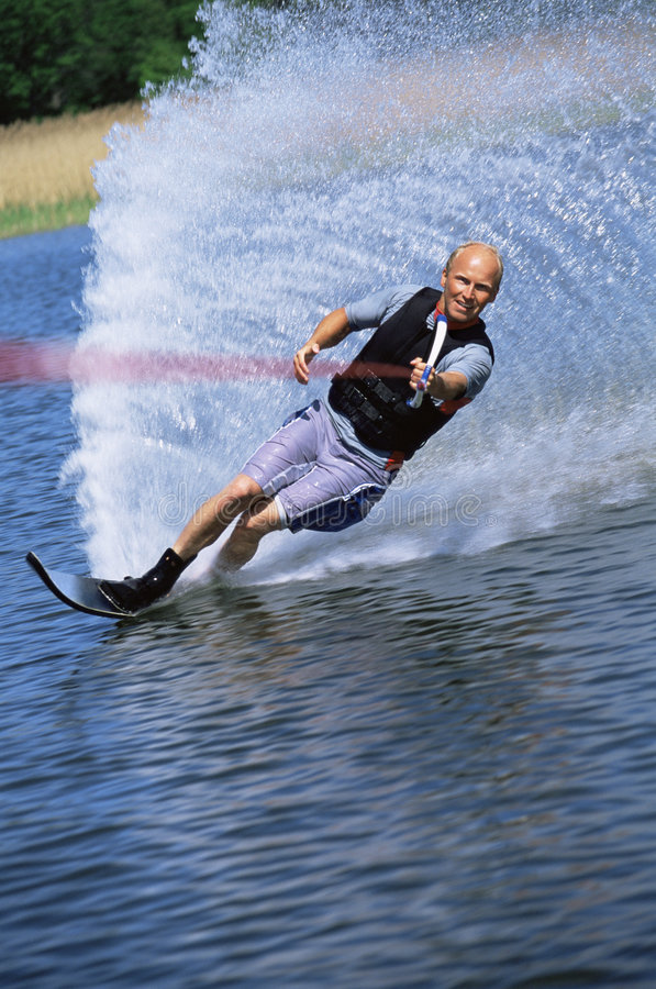 人滑雪水年轻人 免版税图库摄影