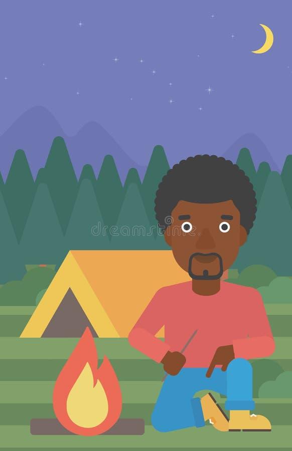 人点燃营火传染媒介例证 向量例证