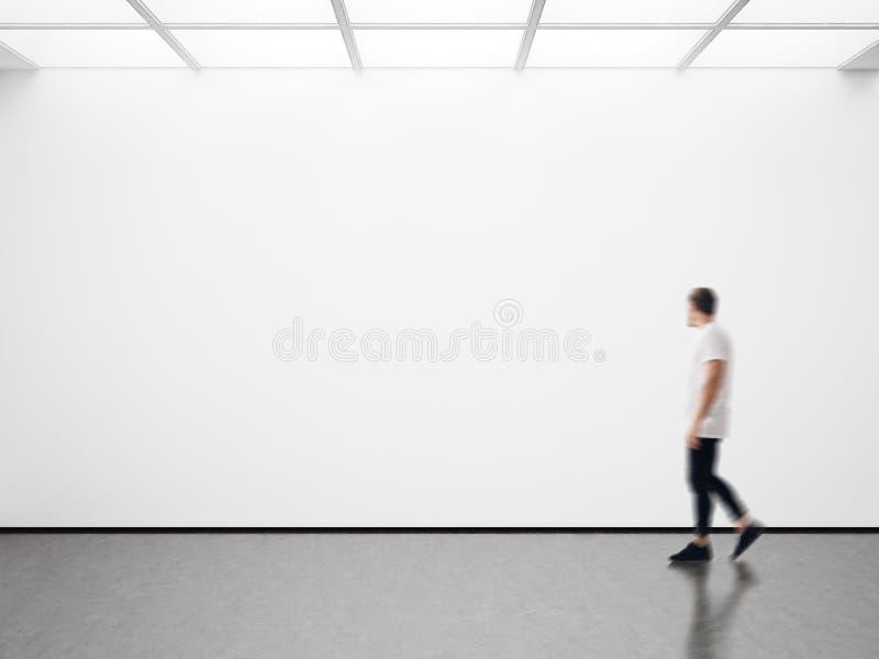 人照片看空的帆布的现代画廊的 空白的大模型,行动迷离 库存照片