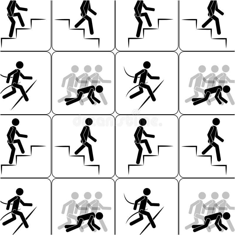 人爬上台阶无缝的样式 向量例证