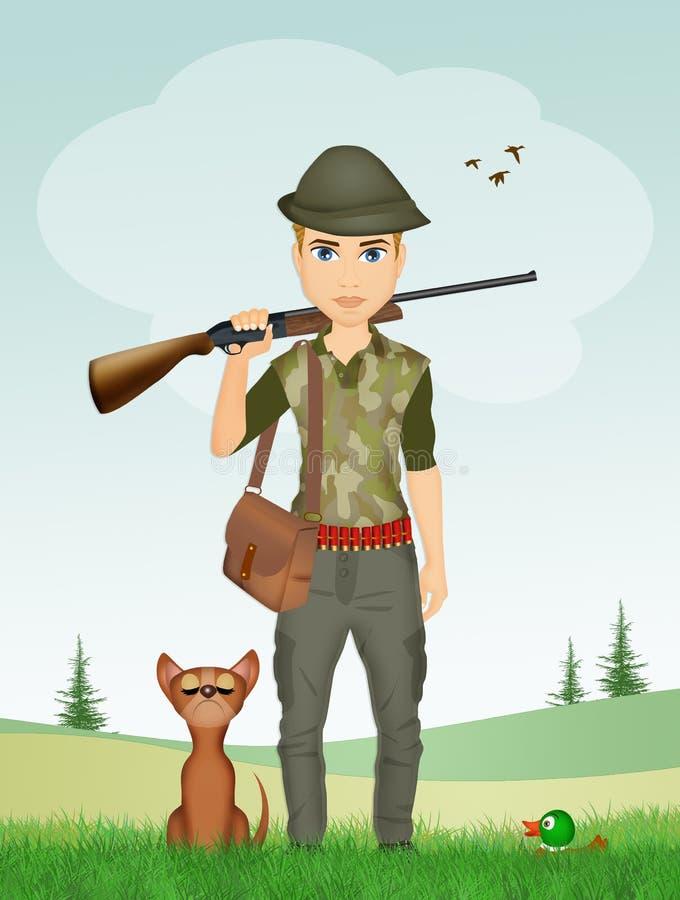 人猎人和狗 向量例证