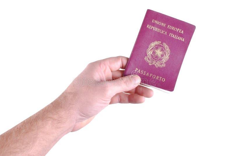 人现有量拿着意大利护照 免版税库存照片