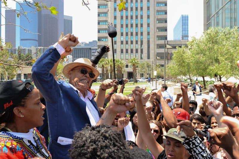 黑人生活问题抗议者在天空中投入了他们的拳头作为si 库存照片