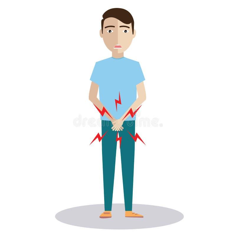 人用举行他的裤裆和需要撒尿或膀胱问题,病态的人前列腺癌,前列腺炎症的手,过早 免版税库存照片
