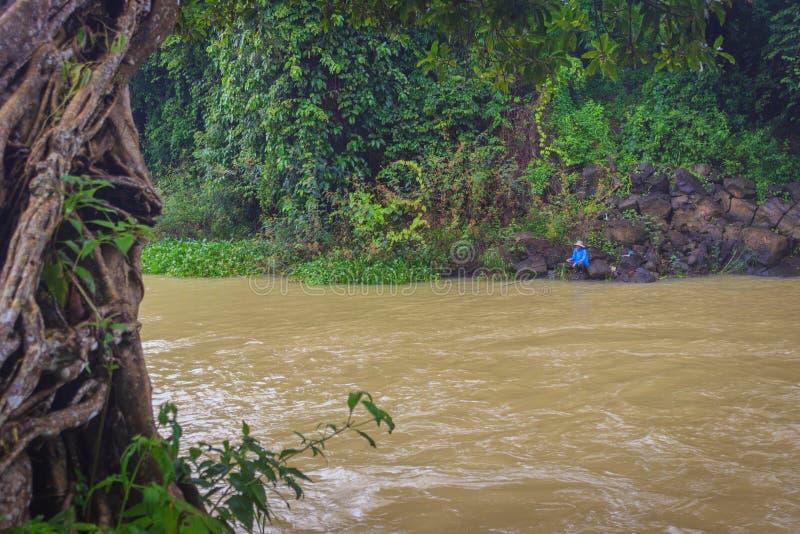 人用假蝇钓鱼在平安的河 免版税库存图片
