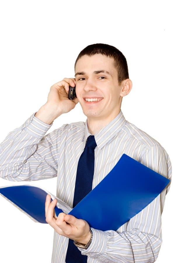 人电话与年轻人告诉 免版税库存图片