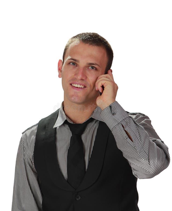 人电话年轻人 免版税图库摄影
