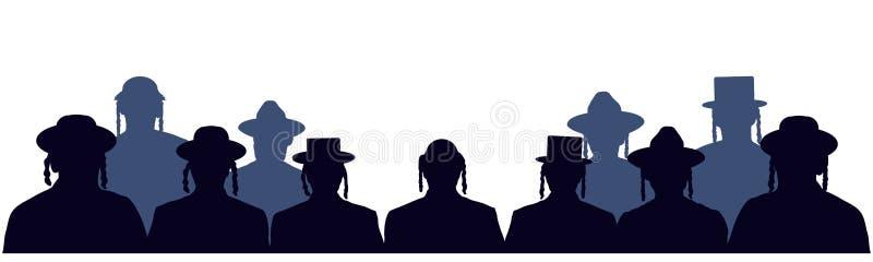人画象以色列人 犹太顶头外形具体化象 犹太国籍的人人群  观众公开听觉 皇族释放例证