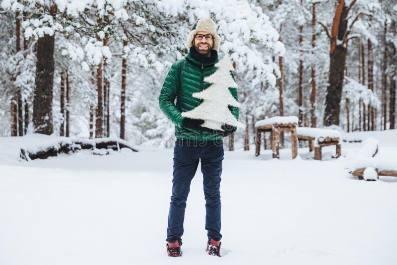 人画象有厚实的胡子和musatche的在美丽的冬天森林里取悦表示,步行,举行小白色artifici 免版税库存照片