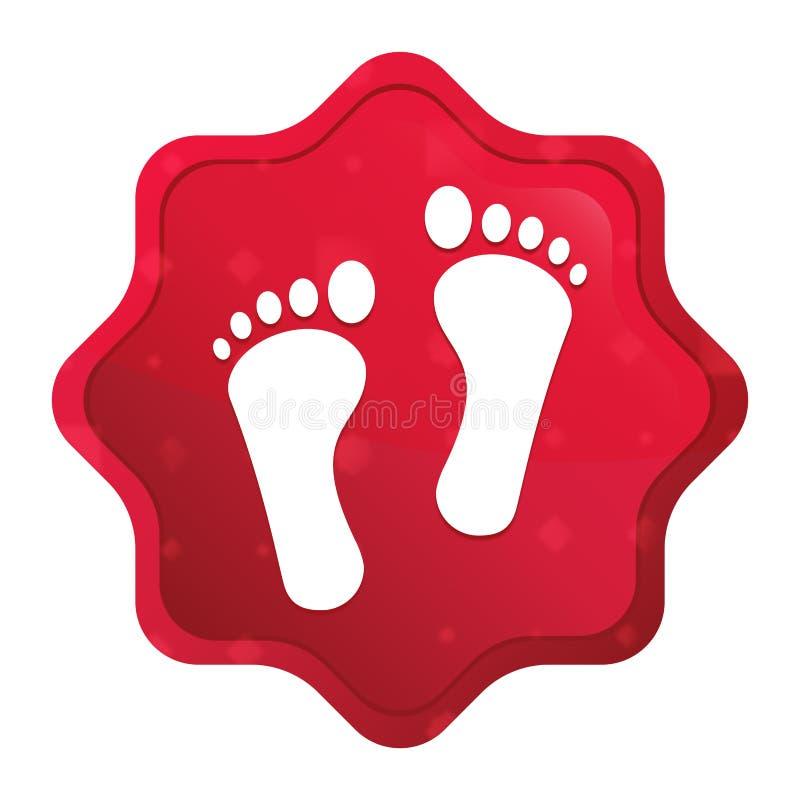 人的两个脚印象有薄雾的玫瑰红的starburst贴纸按钮 皇族释放例证