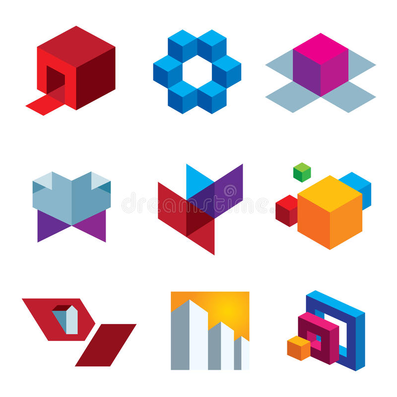 人的了不起的想象力和箱子立方体五颜六色的创造性象集合 皇族释放例证