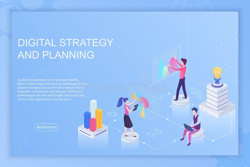 人的传染媒介例证与信息和图表一起使用在网站页关于数字战略和计划 向量例证