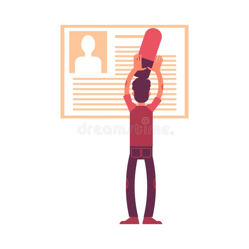 人的传染媒介例证有删除个人信息的大橡皮擦的从他的外形 向量例证