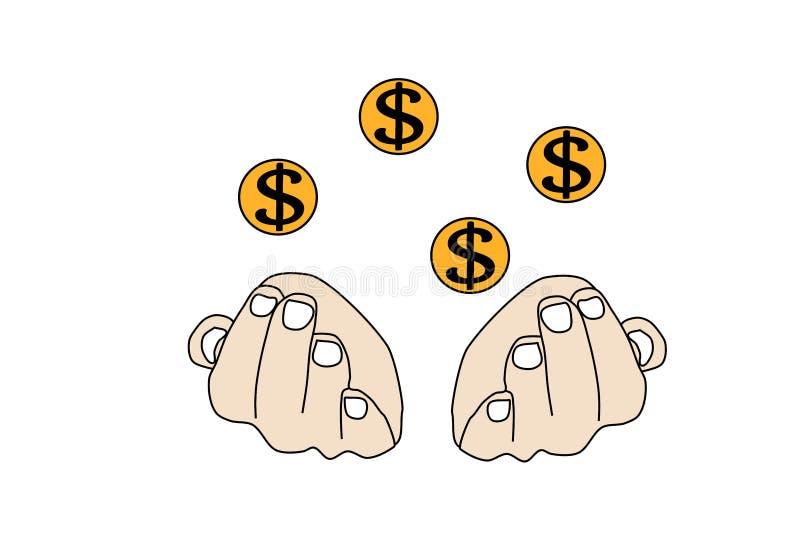 人的传染媒介手有飞行硬币美元的 例证财富 皇族释放例证