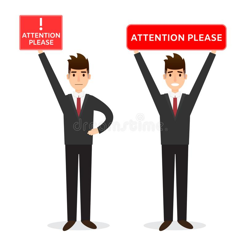 人的例证在办公室在平的样式给拿着委员会穿衣 库存例证