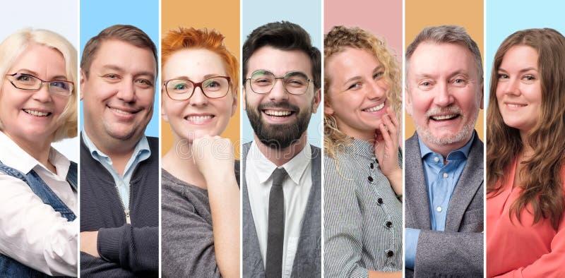 人的具体化的汇集 年轻和老人和妇女面对微笑 免版税库存图片