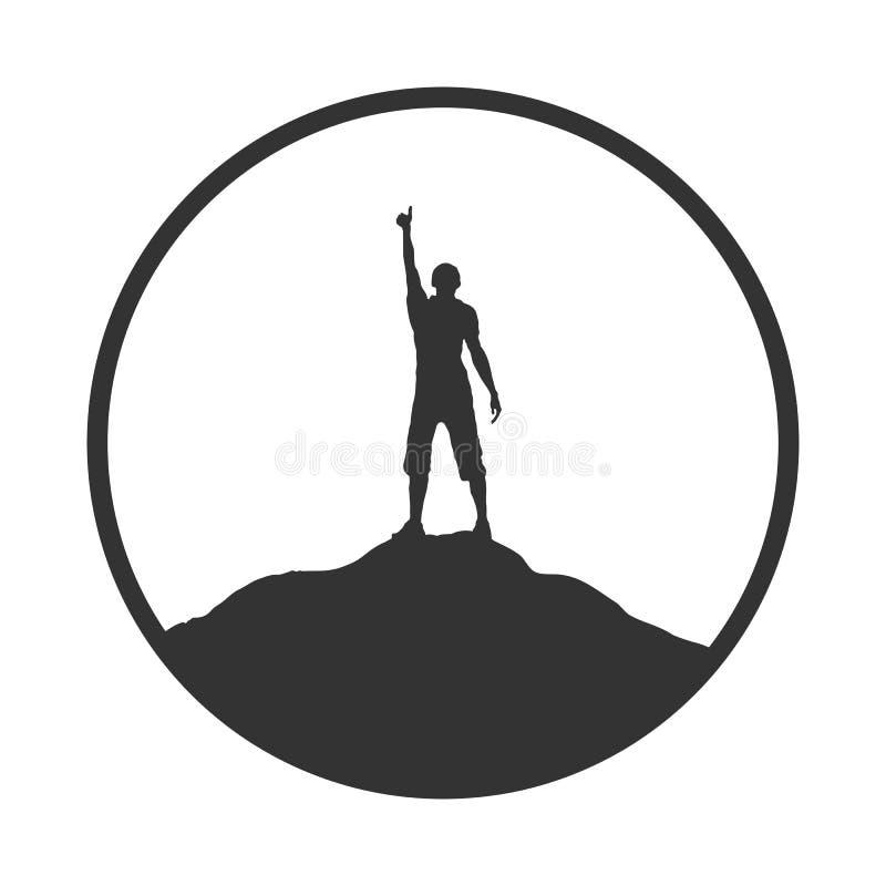 人的剪影用在山上面的被举的手 库存例证