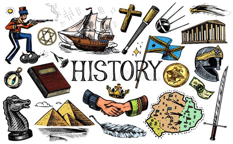 人的历史、科学和教育、宗教和旅行、发现和老古老标志 减速火箭的船 皇族释放例证
