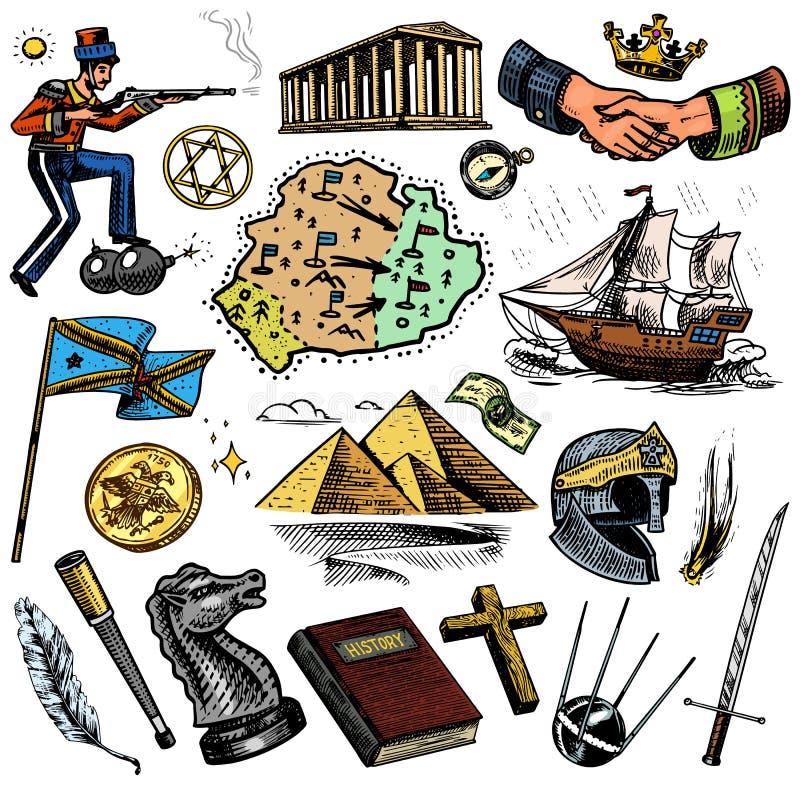 人的历史、科学和教育、宗教和旅行、发现和老古老标志 减速火箭的船 向量例证