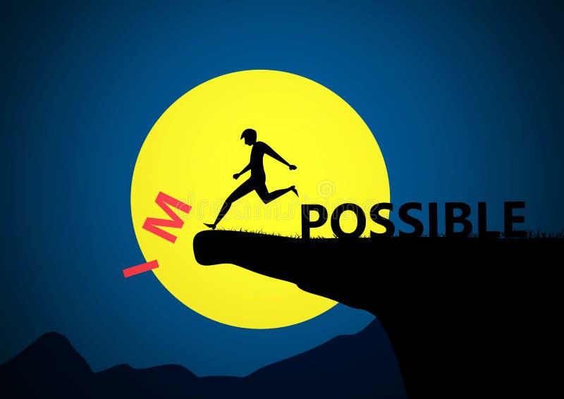 人的在日落,对成功,挑战,刺激,成就,概念的隐喻的人黑色剪影反撞力不可能的文本 向量例证