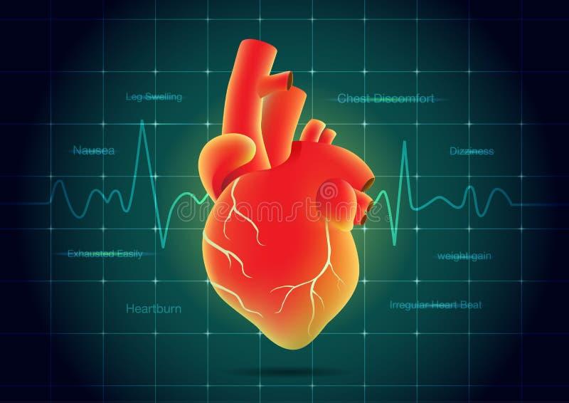 人的在脉冲显示器背景的心脏红颜色 向量例证