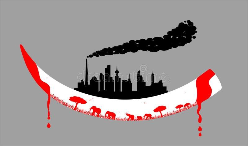 人的城市坐象牙 向量例证