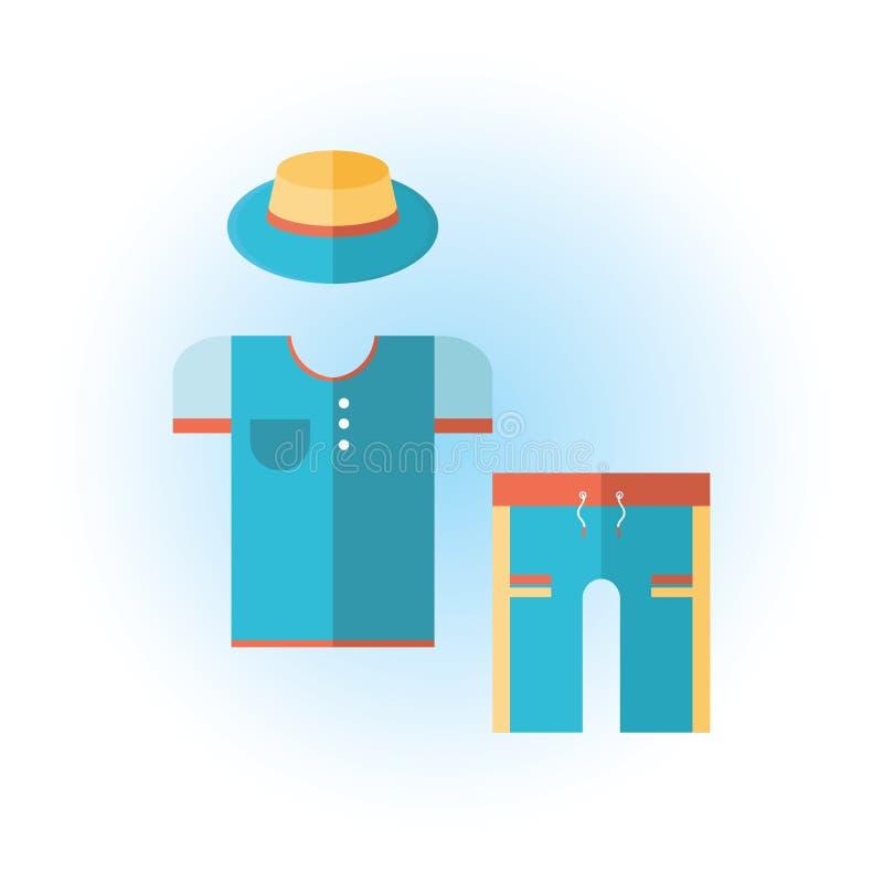 人的夏天衣裳 简单的传染媒介T恤杉,短裤,帽子 在白色背景的被隔绝的传染媒介象 时髦的套  向量例证
