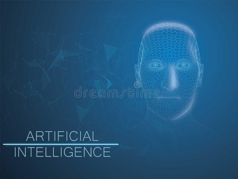 人的大数据形象化 与结节元素的未来派人工智能概念wireframe样式 网络 向量例证