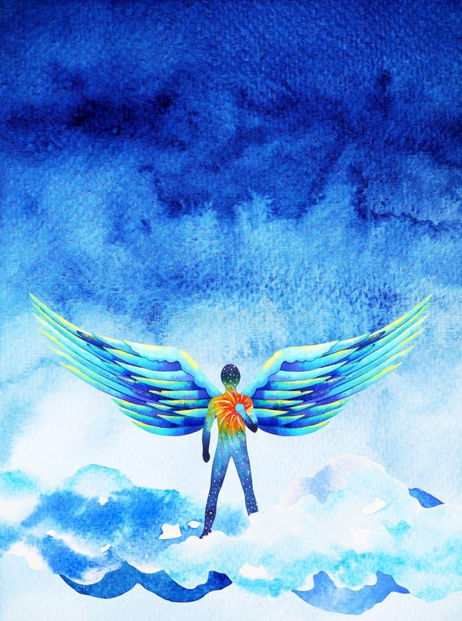 人的天使翼头脑天堂力量水彩绘画例证 库存例证