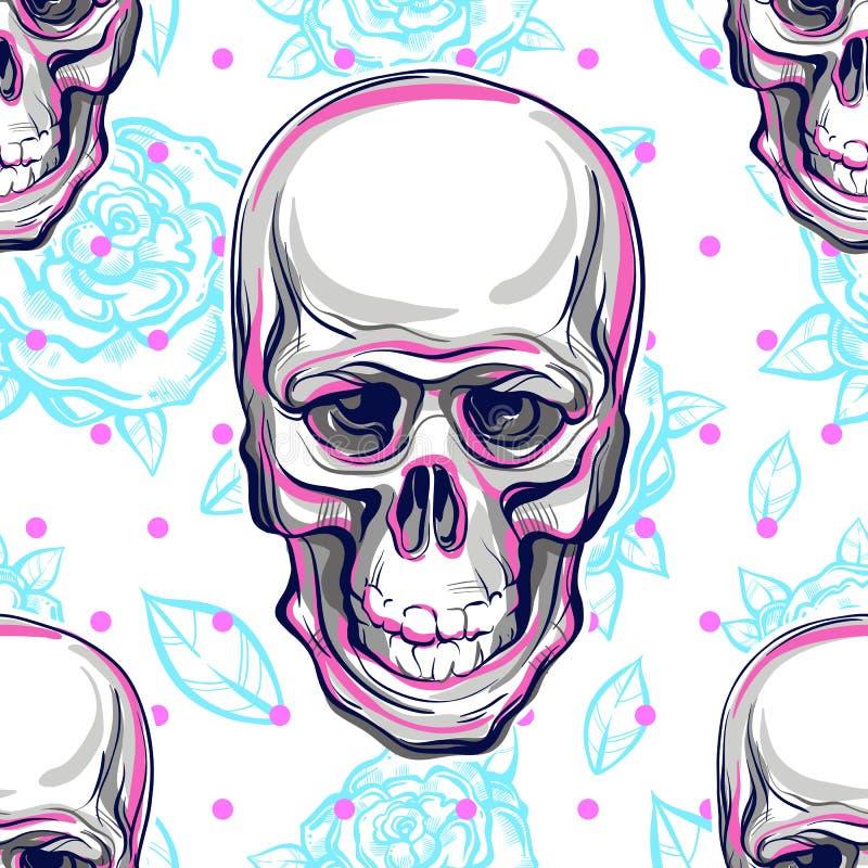 人的头骨和玫瑰的传染媒介无缝的样式 神圣的生活和痛苦的事实的不可思议的标志 神秘的标志 女主持人 库存例证