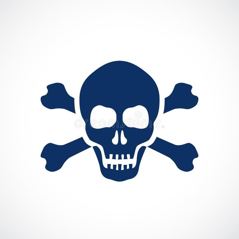 人的头骨和骨头危险标志 向量例证