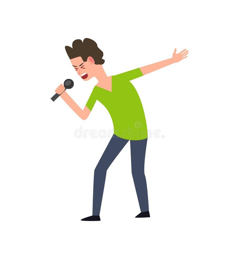 人的字符唱歌歌曲,独奏艺术家传染媒介 库存例证