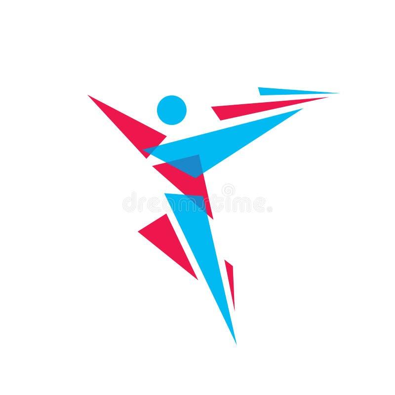 人的字符摘要形象-导航商标模板概念例证 人标志 健身体育标志 设计要素例证图象向量 库存例证