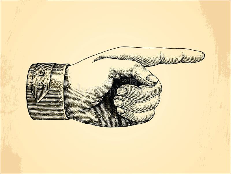 人的左handpoint,剪影样式葡萄酒 库存例证