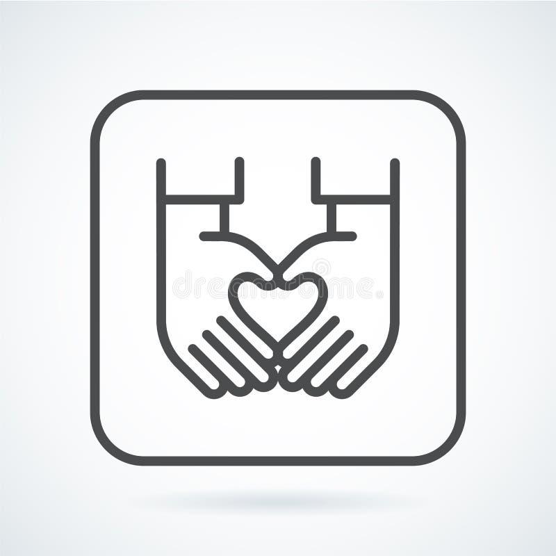 人的心脏的黑平的象姿态手 库存例证