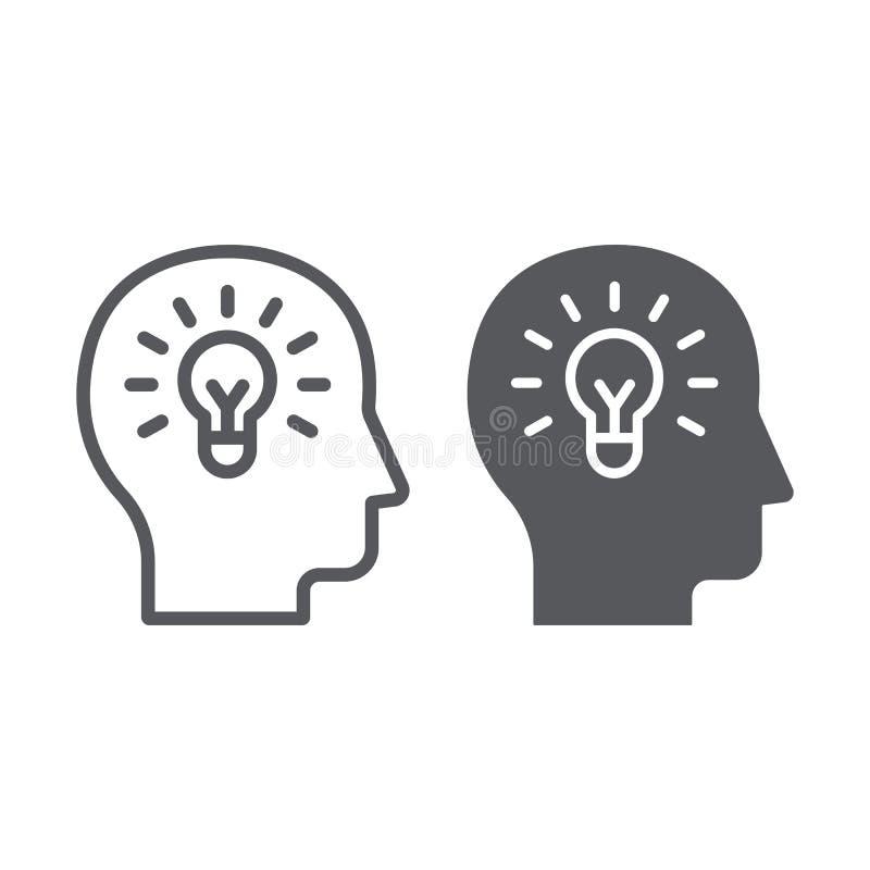 人的想法线和纵的沟纹象、创造性和解答,在顶头标志,向量图形,在a的一个线性样式的电灯泡 库存例证