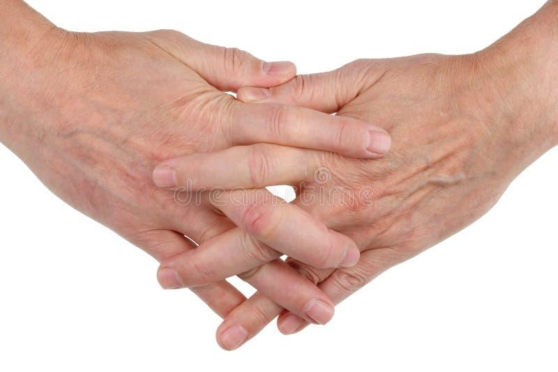 人的手与手指一起被编织作为标志frien 免版税库存图片