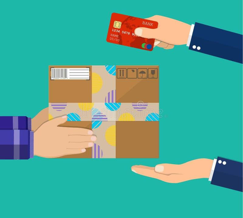 人的手举行金钱和薪水包裹的 向量例证