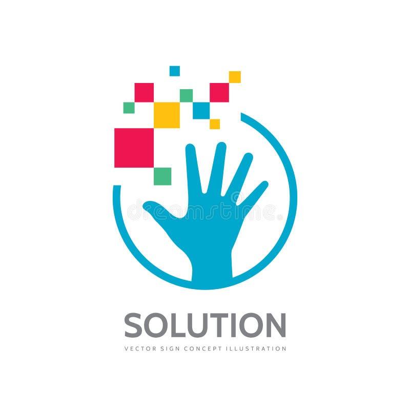 人的手和抽象形状-传染媒介企业商标模板创造性的例证 发展,解答,计划,技术, 皇族释放例证