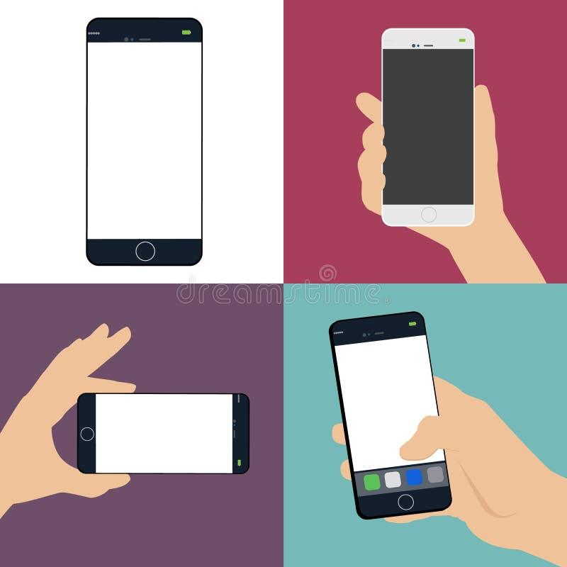 人的手拿着一个巧妙的电话的一套一个空白的白色屏幕 向量例证