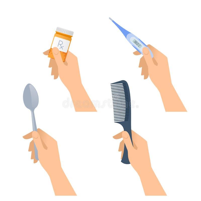 人的手拿着匙子,数字体温计,药片容器, hai 向量例证