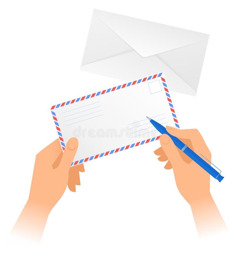 人的手拿着纸信封并且写与笔的地址 向量例证