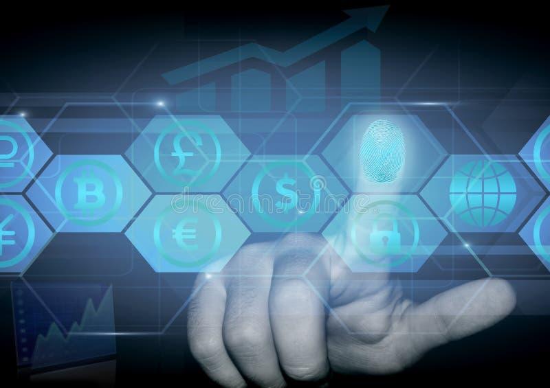 人的手指按与各种各样的货币的标志的一张全息图 免版税库存图片