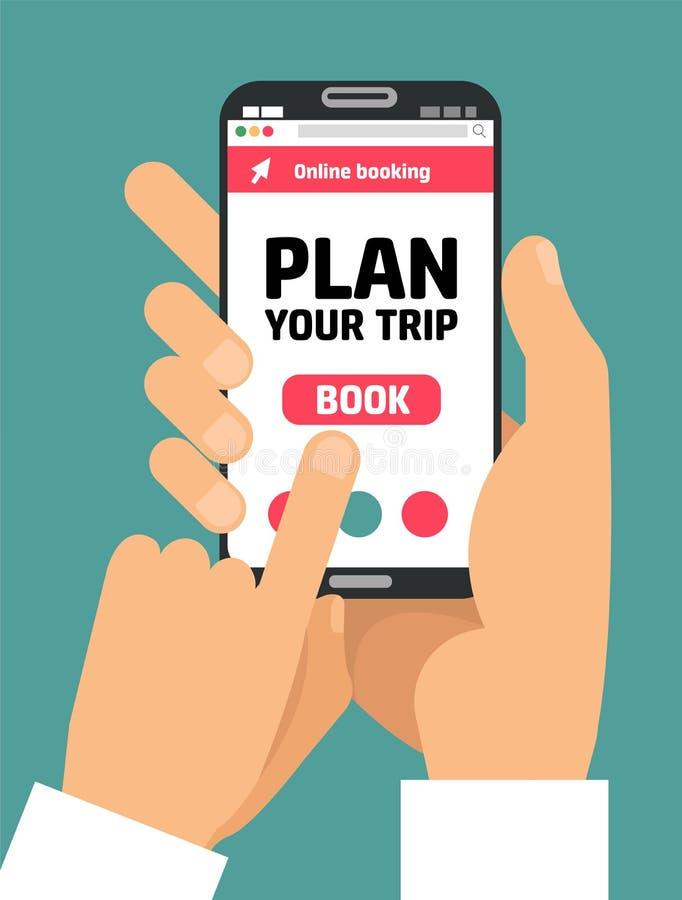 人的手有书按钮的藏品智能手机在屏幕上 网上预定的流动申请的概念对租赁膳宿的 向量例证