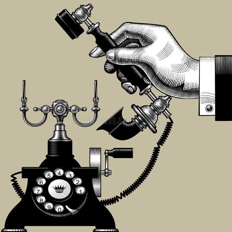 人的手有减速火箭的黑电话的 向量例证